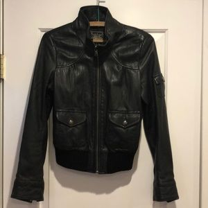 Guess leather bomber jacket in small